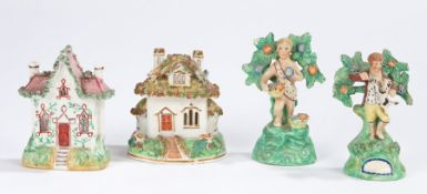 19th Century Staffordshire, to include two figures standing on green bases, an incense cottage and