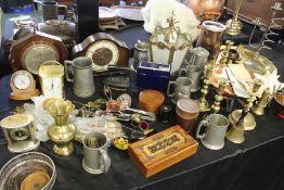 Works of art to include mantel clock, brass candlesticks, barometer, pewter mugs, brass lantern etc.