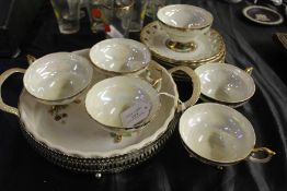 Eiho Japan porcelain tea service, decorated with a courting couple, consisting of six tea cups and