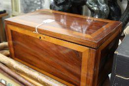 Mahogany and satinwood veneered deed box, 41cm wide