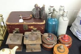 Works of art to include vanity case, French blue glass soda syphon, three painted wooden pots and