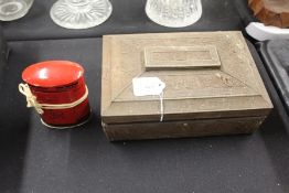 Chad Valley tin plate money box in the form of a George V or VI postbox, Huntley & Palmer biscuit