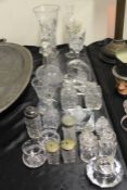 Glassware to include silver mounted and other dressing table pots and covers, paperweights, vases,