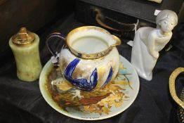 Porcelain to include Coalport barn owl plate, Royal Doulton jug, Lladro figure, onyx table