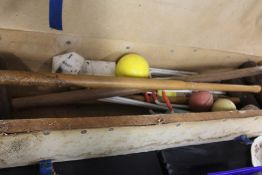 Croquet set, to include three mallets, hoops etc.