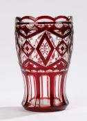 20th Century Bohemia glass vase, the clear ground with ruby overlaid decoration, 18cm