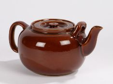 """George VI pottery teapot, with brown glazed exterior, stamped to base """"G.VI.R Double & Son Ltd."""