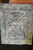 Metal plaque with embossed female study, 30cm x 40cm