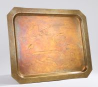 Brass tray, the central field with brush stroke effect decoration, signed F De Jauclenon? 49cm x