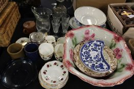 Porcelain and glass, to include Clare bone china part tea service decorated with roses, place