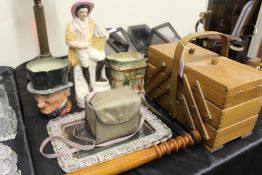 Works of art, to include a Royal Doulton jugs, Staffordshire figure, camera, sewing case, plated