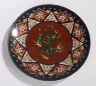 Cloisonne charger with central depiction of a dragon, surrounded by foliate decoration, scale