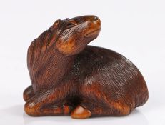 Fine Japanese carved wood netsuke, signed Sari, of a horse arching the neck, signed to the base, 4.