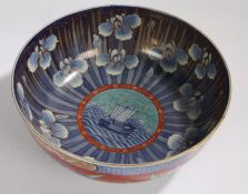20th Century Japanese porcelain bowl, the central field with depiction of a ship surrounded by an
