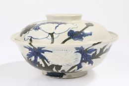 Japanese porcelain dish and cover, decorated with blue and green flower and leaf design, 22cm