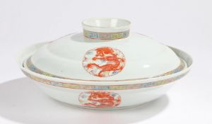 Chinese porcelain bowl and cover, decorated with dragon roundels in enamel and a geometric edge, six