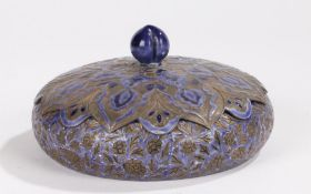 Japanese silver and enamel pot and cover, the blue enamel flower decoration to the lid and squat
