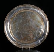 Unusual Chinese silver and gold dish, 18th/19th Century, the silver dish with a shallow hammered