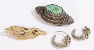 Chinese objects, to include a pair of silver earrings, a turquoise set pendant and a bone dragon, (