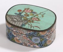 Cloisonne pot and cover, of oval form, the lid with turquoise ground and foliate decoration, the