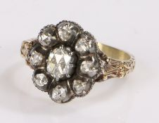19th Century diamond set ring, with a central diamond and diamond surround estimated at a total of