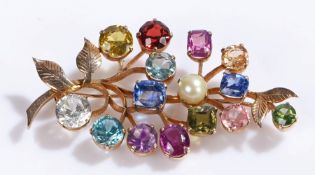 Multi gem stone set brooch, with a spray of coloured stones set to a leaf brooch, 50mm diameter