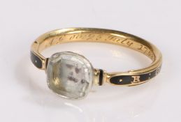 18th Century rock crystal and enamel mourning ring, the rock crystal head with an enamel skull to