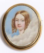 19th Century miniature portrait, of a young lady within clouds, 60mm diameter