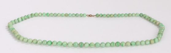 Jade necklace, with a row of beads to the loop claps, 74cm long
