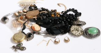 Costume jewellery, to include cameo brooch and bracelet, earrings, necklaces, rings etc. (qty)
