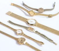 Six ladies gilt cased wristwatches, to include example by Citron, Timex, Accurist, Constant,