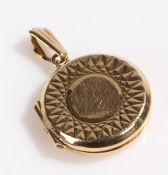 9 carat gold locket, of circular form, 2.5g