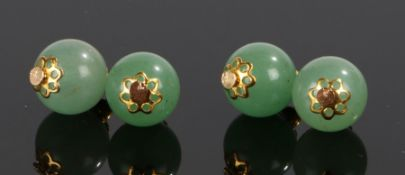 Pair of jade cufflinks, with foliate tipped ball links