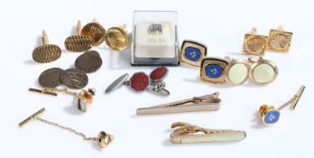 Silver and other cufflinks, tie clips and tie pins, to include Masonic examples (qty)