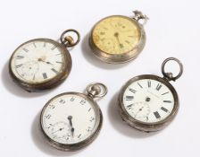 Two silver cased open face pocket watches, continental silver open face pocket watch, base metal