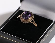 9 carat gold ring set with purple paste, ring size U1/2, 2.9g