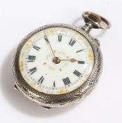 Ladies continental silver open face pocket watch, the white dial with Roman numerals and gilt scroll