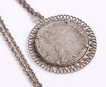 Maria Theresa coin medallion and chain