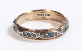 9 carat gold and silver ring set with green and blue paste, ring size Q, 2.7g