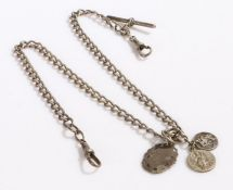 Silver pocket watch chain with T bar and three hanging religious pendants, 48cm long, gross weight