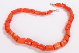 Coral bead necklace, 54cm long