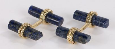Pair of lapis lazuli and gilt metal cufflinks, with rope effect mounts