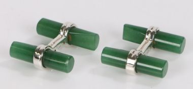Pair of jade and silver cufflinks, with chamfered ends
