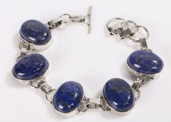 Lapis lazuli and silver bracelet, formed from five oval lapis lazuli panels