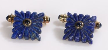 Pair of lapis lazuli and gilt metal cufflinks, with reeded gadrooned square heads