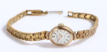 Rotary 9 carat gold ladies wristwatch, the signed white dial with baton markers, manual wound, the