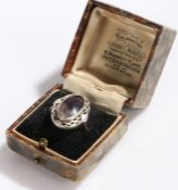 Silver and blue john ring, the oval shaped blue john in a pierced silver setting, ring size N1/2,
