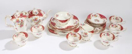Paragon Rockingham fine bone china tea service, consisting of cups, saucers, teapot, plates, etc. (