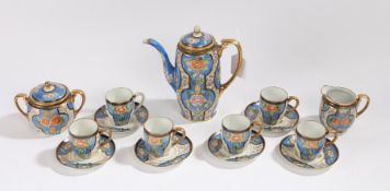 Noritake coffee set, comprising coffee pot, six each cups and saucers, sugar bowl and cream jug, the