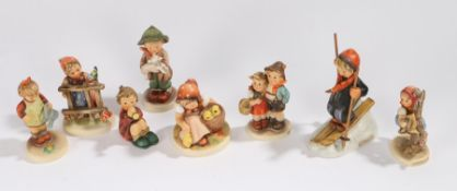 Collection of eight Goebel Hummel figures, to include Skier, Chick Girl, Little Gardener, and others